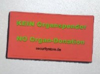 KEIN Organspender Patch